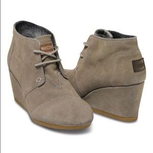 TOMS Taupe V2 Desert Suede Wedge Booties